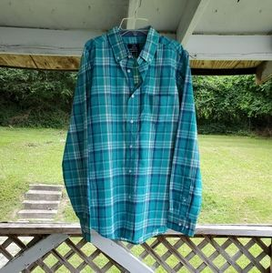 GEORGE man's long sleeve shirt blue plaid size M